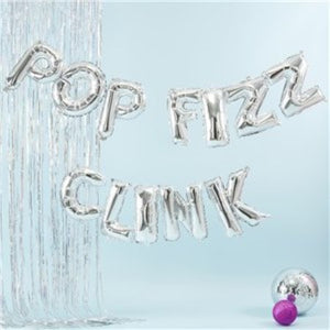 Pop Fizz Clink Silver Balloon Bunting I Ginger Ray I My Dream Party Shop I UK