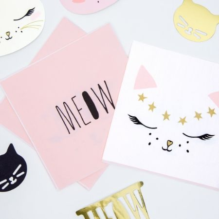Pretty Pink Cat Napkins I Pretty Pink Cat Party Collection I My Dream Party Shop UK
