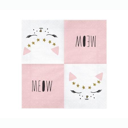 Pretty Pink Cat Napkins Opened I Pretty Pink Cat Party Collection I My Dream Party Shop UK