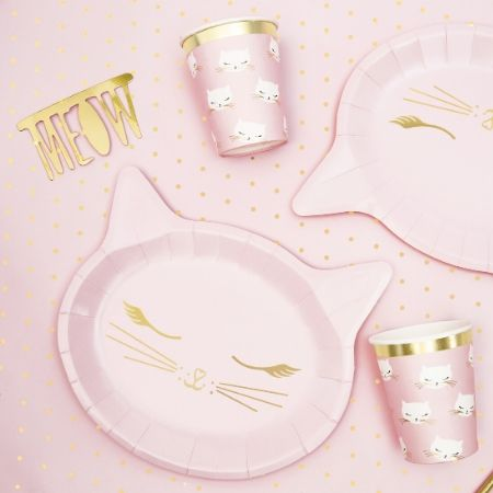Pretty Pink Cat Plates I Pretty Pink Cat Party Supplies I My Dream Party Shop UK