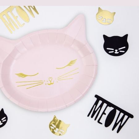 Pretty Pink Cat Plates I Modern Party Tableware I My Dream Party Shop UK