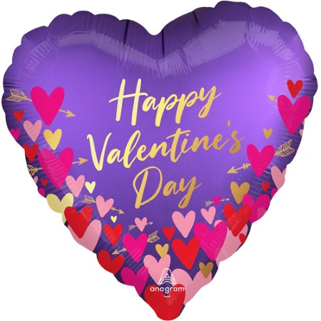 Purple Hearts and Arrows Valentines Day Helium Balloons I My Dream Party Shop
