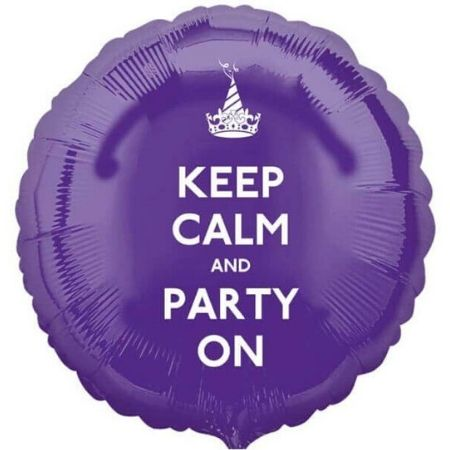 Purple Keep Calm and Party On Balloon I Modern Party Balloons I My Dream Party Shop UK