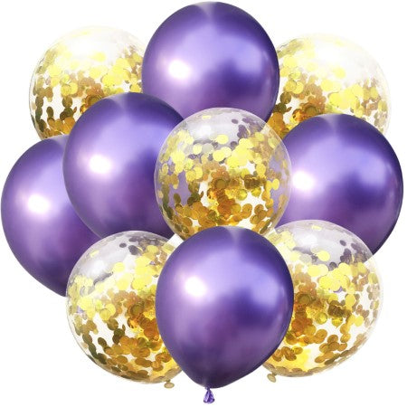 Chrome Metallic Purple and and Clear Gold Confetti Balloons x 10 I Cool Party Balloons I My Dream Party Shop I UK