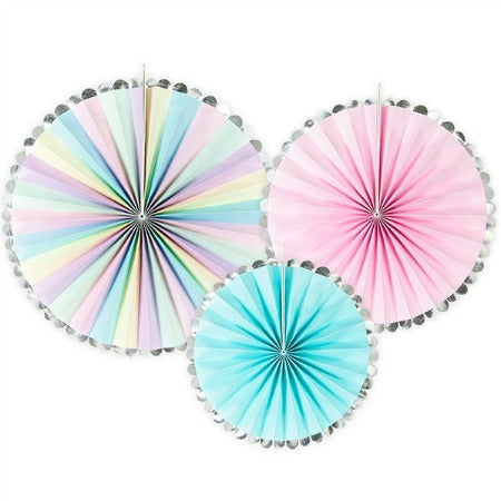Set of Three Pastel and Silver Rosette Fans