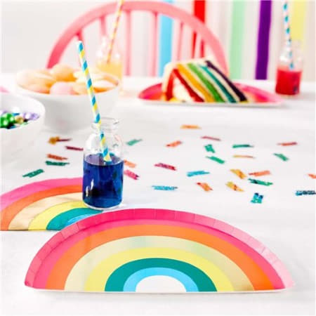 Rainbow Brights Rainbow Shaped Plates I Talking Tables I Rainbow Party I My Dream Party Shop I UK