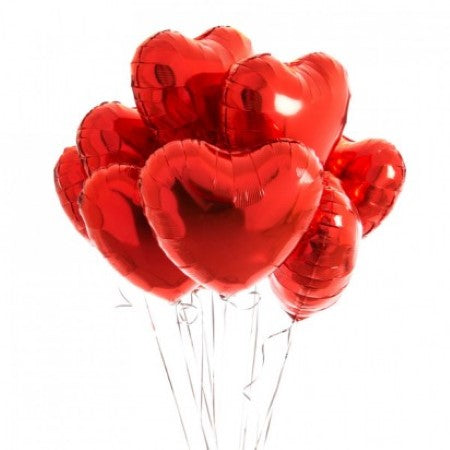Eight Red Heart Balloons I Helium Balloons for Collection Ruislip I My Dream Party Shop