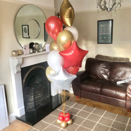 Bespoke Red, White and Gold Helium Balloon Bouquet I Ruislip I My Dream Party Shop