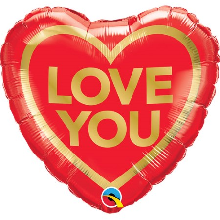 Red and Gold Love You Heart Balloon I Valentines Day Balloons I My Dream Party Shop