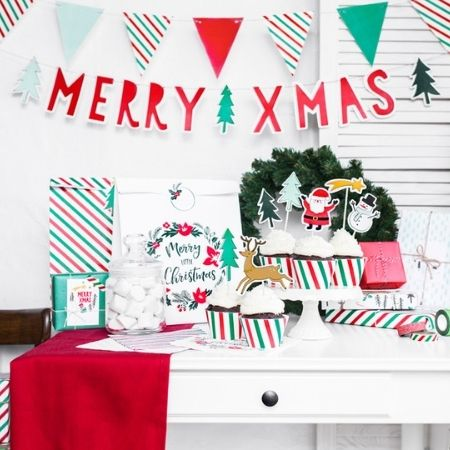 Red and Green Merry Xmas Garland I Christmas Decorations I My Dream Party Shop