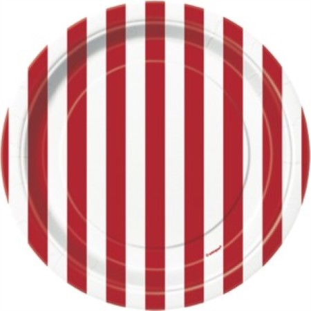 Ruby Red and White Striped Plates 7 inch I Circus Party I My Dream Party Shop UK