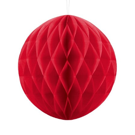 Red Honeycomb Tissue Ball Party Decoration 30cm I My Dream Party Shop I UK