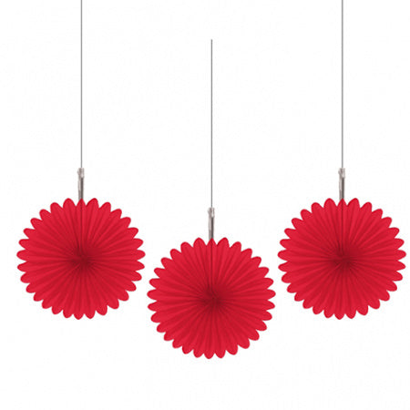 Mini Red Rosette Fans, Set of 3 I Red Party Decorations I My Dream Party Shop I UK