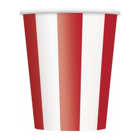 Ruby Red and White Striped Cups  I Red Party Supplies I My Dream Party Shop