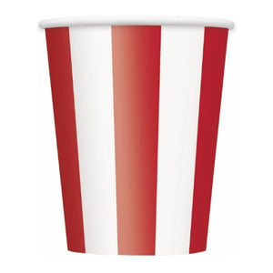Ruby Red and White Circus Striped Paper Party Cups - My Dream Party Shop