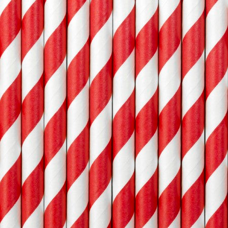 Red and White Striped Paper Straws I Modern Red Party Supplies I My Dream Party Shop