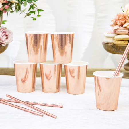 Rose Gold Foil Cups I Rose Gold Party Supplies I My Dream Party Shop UK