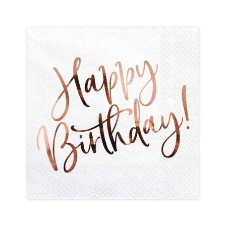 Rose Gold Happy Birthday Napkins I Rose Gold Party Supplies I My Dream Party Shop