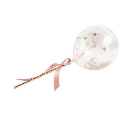 Rose Gold Mini Confetti Balloon Wands I Rose Gold Decorations I My Dream Party Shop