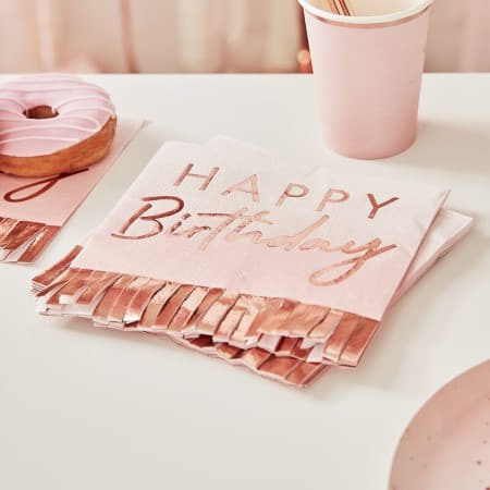 Rose Gold and Pink Ombre Fringe Napkins I Pink and Rose Gold Party I My Dream Party Shop UK