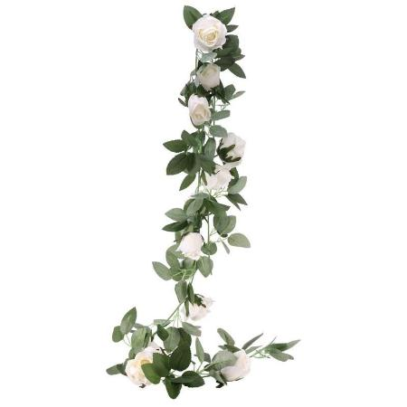 Artificial White Rose Flower Garland I Wedding or Party Decoration I My Dream Party Shop I UK