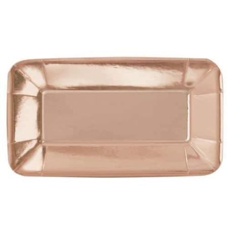 Rose Gold Metallic Foil Appetizer Rectangular Party Plates - 8 Pack - My Dream Party Shop