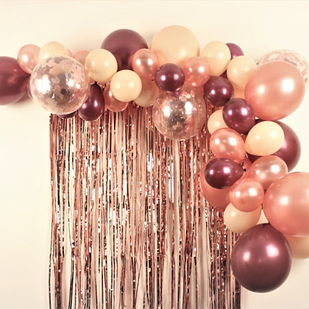 Rose Gold, Blush and Maroon Balloon Garland Cloud Kit I My Dream Party Shop I UK