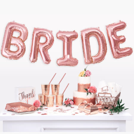 """Bride"" Giant Rose Gold Letter Foil Bunting Phrase Balloons I Stylish Rose Gold Hen Party Decorations I My Dream Party Shop I UK"