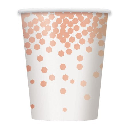 White Cups with Rose Gold Metallic Foil Pattern 8pk I Rose Gold Tableware and Decorations I My Dream Party Shop I UK
