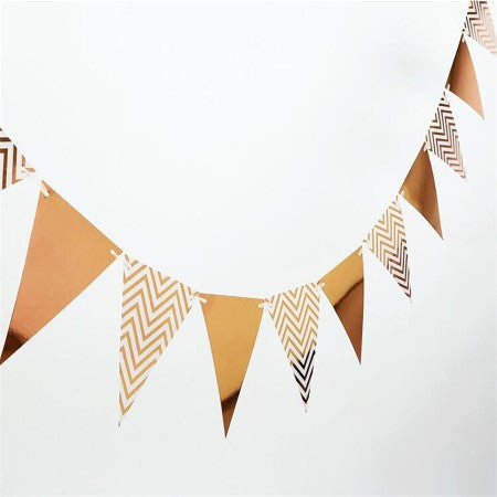 Rose Gold Foil Flag Bunting I Rose Gold Party Supplies I My Dream Party Shop I UK