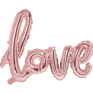 """Love"" Giant Rose Gold Foil Phrase Balloon I My Dream Party Shop I UK"