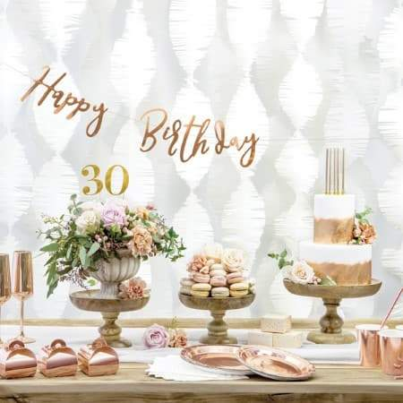 Rose Gold Happy Birthday Garland I Stylish Rose Gold Party Accessories I My Dream Party Shop I UK