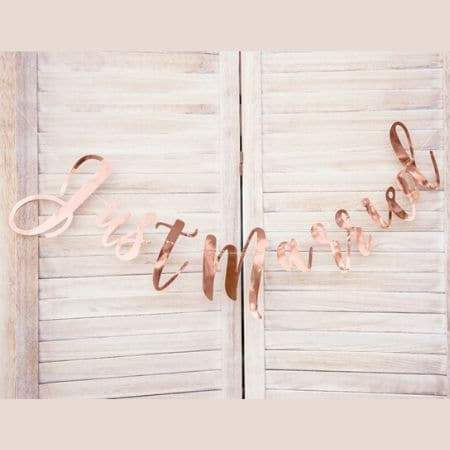 Rose Gold Just Married Garland I Wedding Banners, Signs and Garlands I My Dream Party Shop I UK