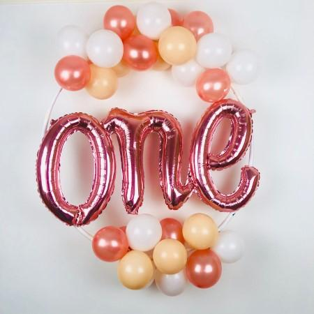 Rose Gold Balloon Hoop Kit I First Birthday Balloons I My Dream Party Shop UK