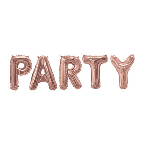 """Party"" Giant Rose Gold Foil Phrase Balloon Bunting 16 Inches I My Dream Party Shop I UK"