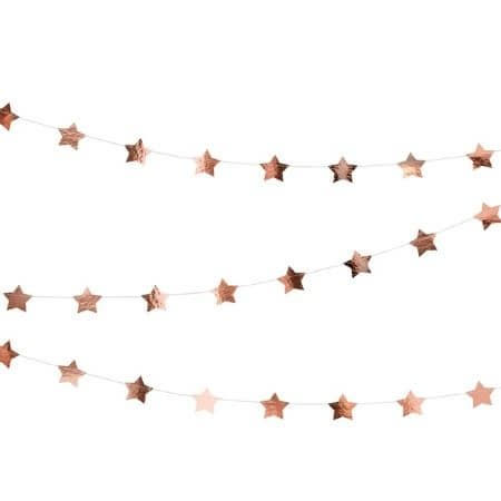 Rose Gold Star Garland I Rose Gold Decorations I UK