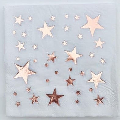 White Napkins with Rose Gold Stars and Dots I Rose Gold Tableware and Decorations UK