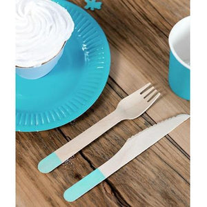 Wooden Eco Friendly Party Cutlery - Tiffany Blue, Set of 18 - My Dream Party Shop