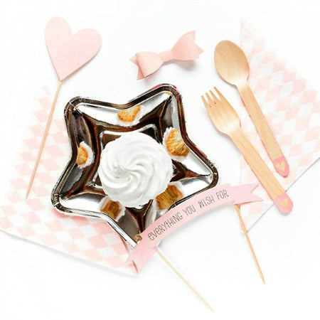 Wooden Eco Friendly Party Cutlery - Blush Pink Hearts - My Dream Party Shop