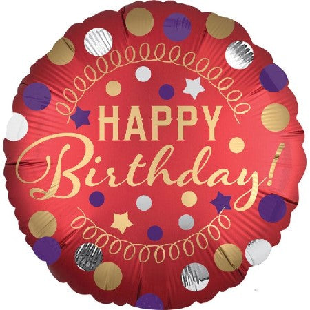 Red Satin Luxe Happy Birthday Balloon I Birthday Balloons I My Dream Party Shop