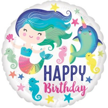 Happy Birthday Mermaid Balloon I Mermaid Party Supplies I My Dream Party Shop UK