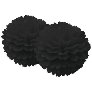 Set of Two Black Tissue Pom Poms Party Decorations - My Dream Party Shop
