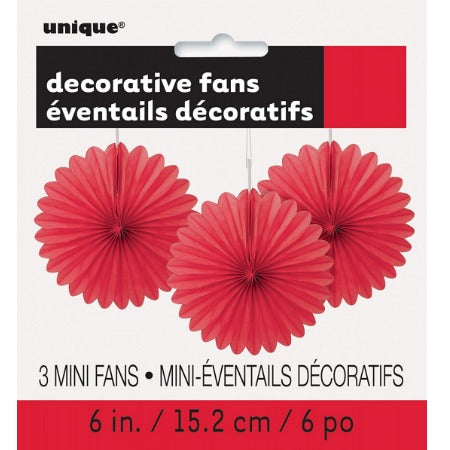 Small Red Rosette Fans, Set of 3 I Red Party Decorations I My Dream Party Shop I UK