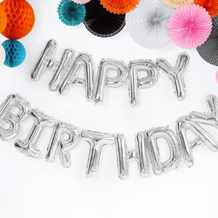 Silver Happy Birthday Balloon Bunting I Modern Party Decorations I My Dream Party Shop UK