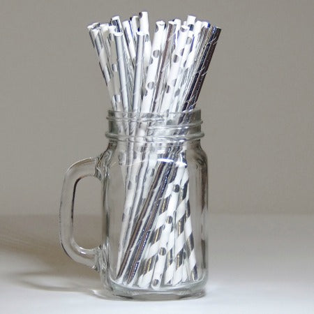Silver & White Striped, Polka Dot & Plain Paper Straws I Cool Silver Tableware I My Dream Party Shop I UK