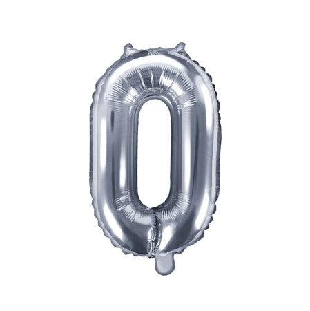Small Silver Foil Number 0 Balloons 14 Inches I My Dream Party Shop I UK