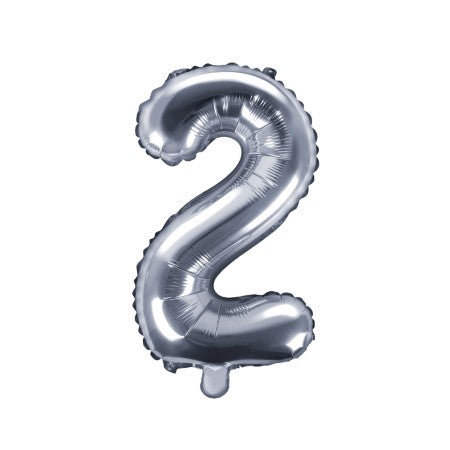 Small Silver Foil Number Two Balloons 14 Inches I My Dream Party Shop I UK