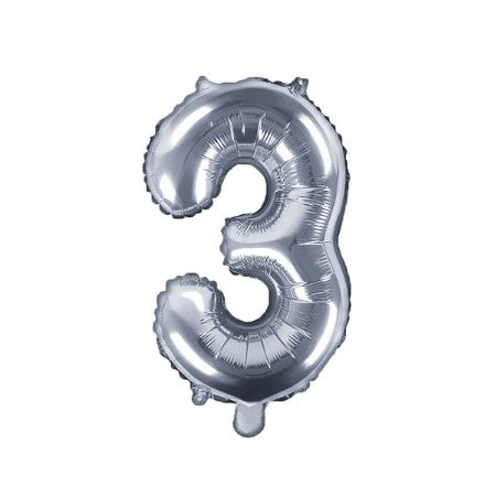 Small Silver Foil Number Three Balloons 14 Inches I My Dream Party Shop I UK