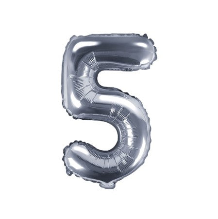 Small Silver Foil Number Five Balloons 14 Inches I My Dream Party Shop I UK