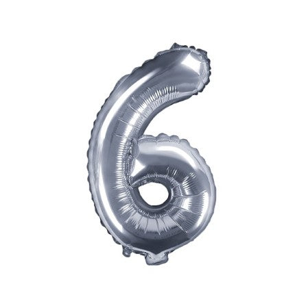 Small Silver Foil Number Six Balloons 14 Inches I My Dream Party Shop I UK